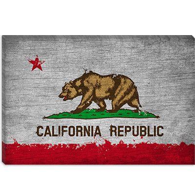 California Flag, Grunge Painted Canvas Wall Art