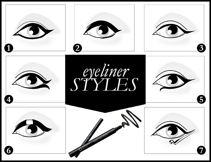 Here are 7 creative ways for you to draw attention to your eyes! Which one is your favorite?   1. Arabian   2. So thick   3. Cat eye   4. Open Wing   5. Drop eye   6. Single   7. Lady Gaga