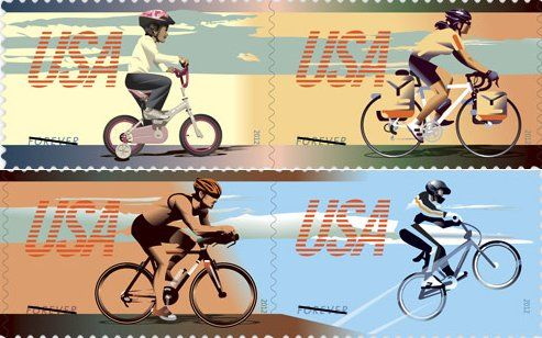 2012 USPS stamps, Bicycling Forever.