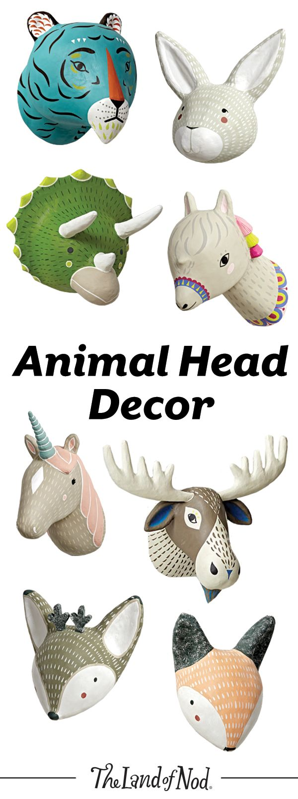 Decorating a safari-themed nursery or kids room? Our playful collection of animal head wall décor is ready to add a wild touch. With everything from paper mache to decals to plush, this collection is ready to roar.