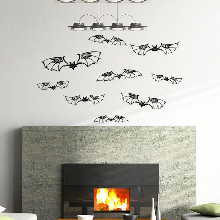 Bat Home Decor Wall Decal Vinyl Sticker Window Decals Halloween Decoration MR803 #Stickalz