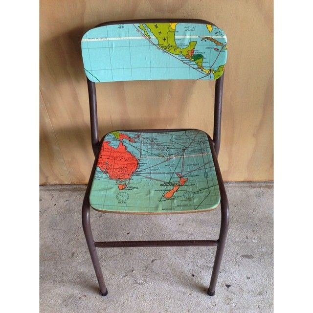 Old school chair and maps