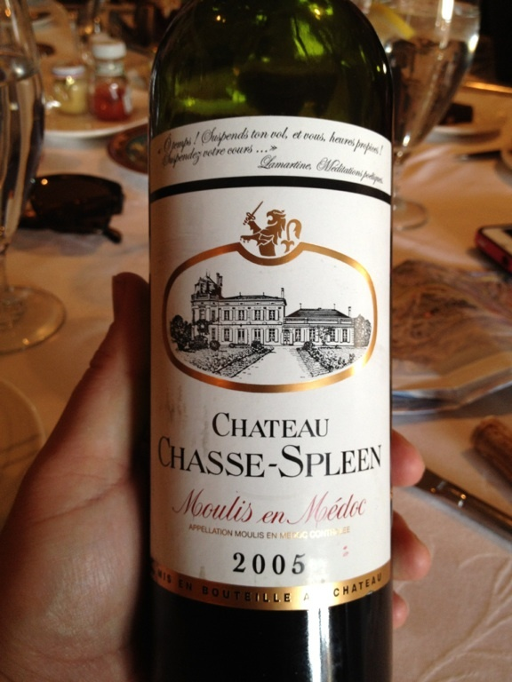 2005 Chateau Chasse-Spleen from Medoc-Moulis, Bordeaux.    Gorgeous.