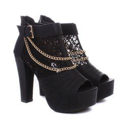 $17.76 Work Women's Peep-Toed Shoes With Lace Chain Belt Design