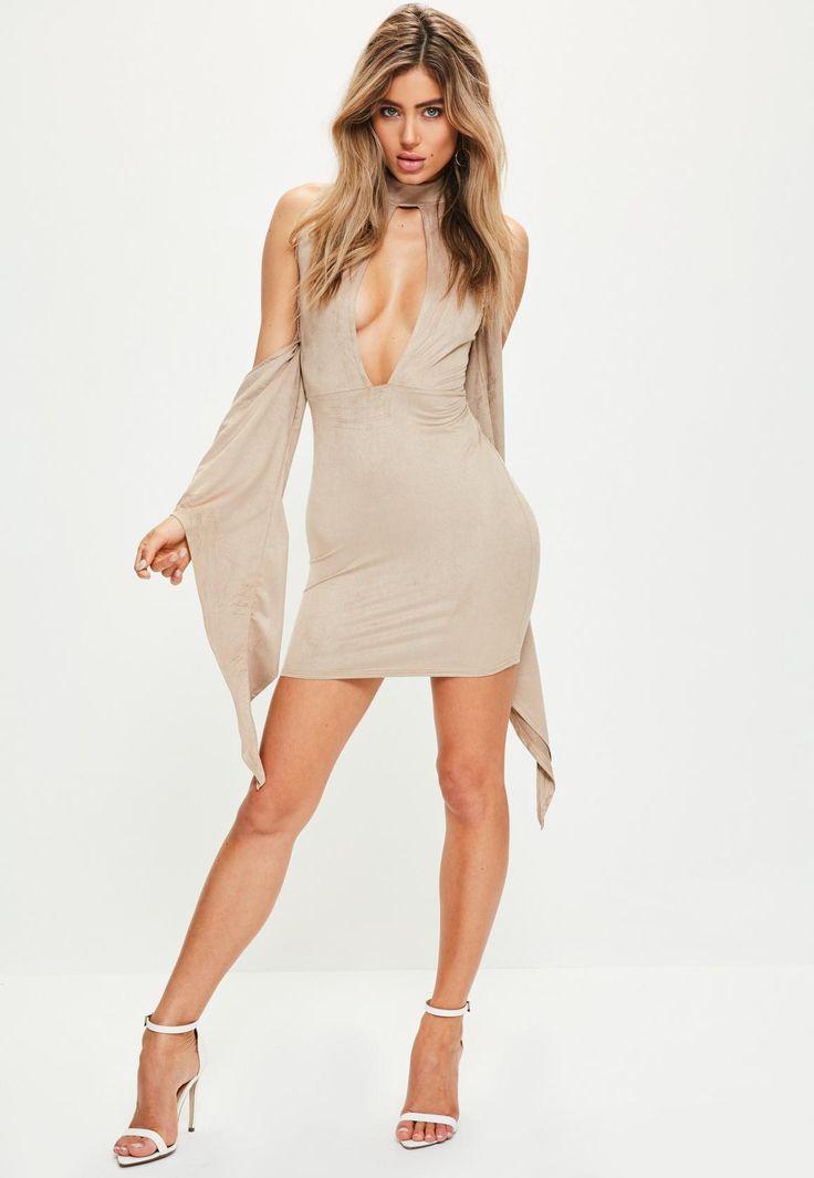 https://www.missguidedus.com/nude-faux-suede-cold-shoulder-drape-dress