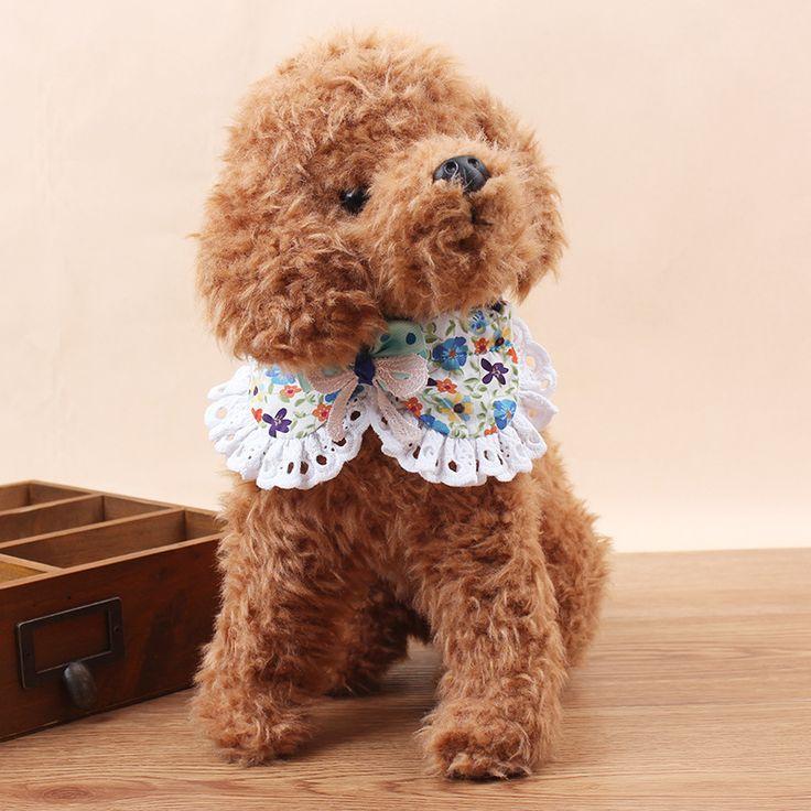 25 33 см Мода Цветочный Печатных Домашних Животных Ожерелье Кружева Цветок Лук Ошейники Для Собак и Ведет с Колокола для Малых собак на Весь сезон купить на AliExpress