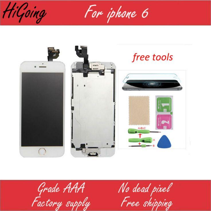 Retail volledige lcd-scherm voor iphone 6 4.7 inch touchscreen digitizer + home knop + camera + oor speaker + lcd metal back plaat