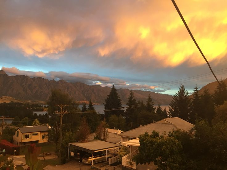 Storm and sunset over the Remarkables in Queenstown