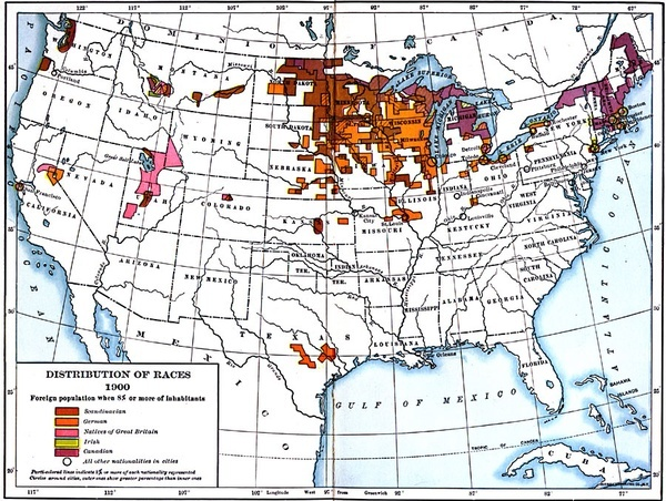 Maps: Distribution of European populations in the US, 1900. #genealogy #resources #maps