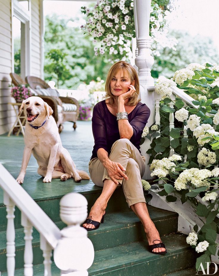 """When I started, I had no idea what a compulsion it would become,"" Oscar-winning actress Jessica Lange (above, with her dog Pine) says of the gardens she planted at her Stillwater, Minnesota, house, which she shares with actor and writer Sam Shepard and her children."