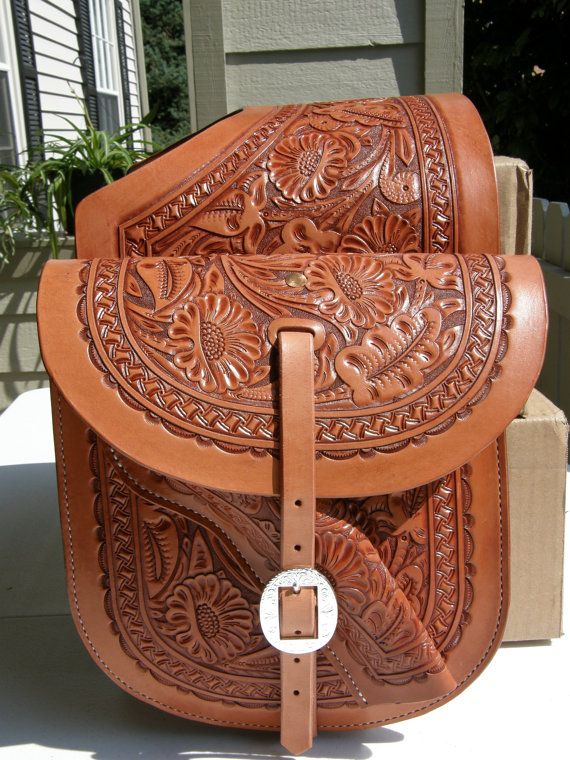 Hand Tooled Western Leather Saddle Bags by GardnersWorkshop, $300.00