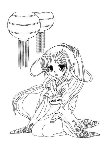 Gratis Ausmalbild Manga Mdchen Mit Lamions Kostenlos