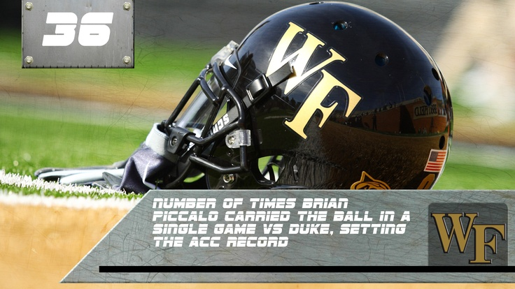 In 1964, Brian Piccolo set a an ACC record for number of carries in a single game with 36 carries for 115 yards, helping the Deacs earns victory over Duke 20-7.  Go Deacs!Forests Univers, Football Seasons, Kickoff Countdown, Acc Players, Brian Piccolo, Wake Forests, Brian Songs, Demons Deacon, Football Kickoff