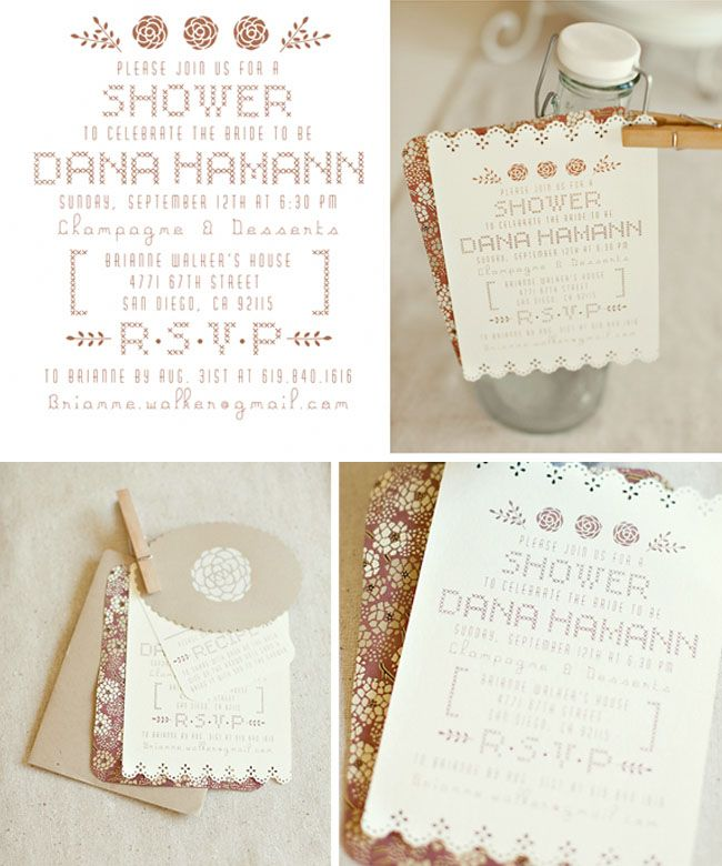 Love these bridal shower invitations - so pretty. Perfect for a rustic,vintage wedding!