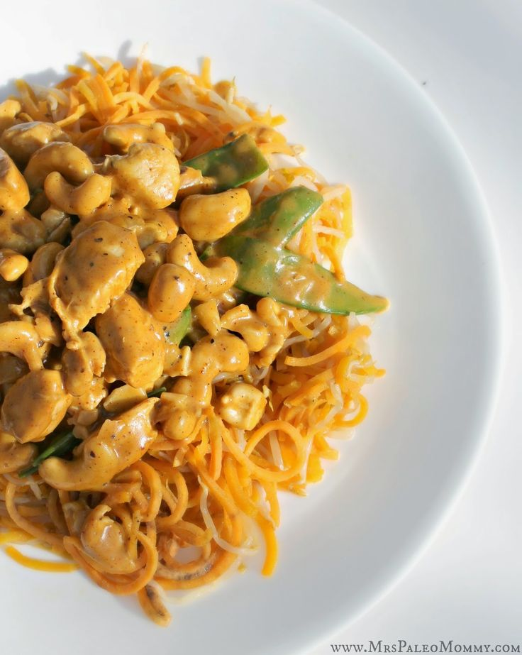 Curry Cashew Chicken over Sweet Potato Noodles #MrsPaleoMommy