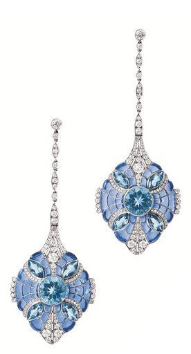 Plique-a-Jour Enamel, Aquamarine, Diamond and Platinum Earrings by Tiffany & Co., via Sotheby's