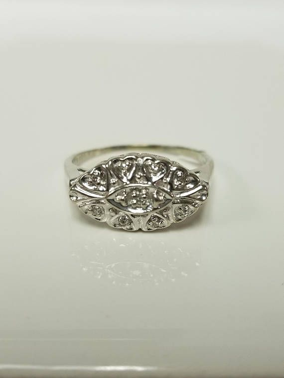 Ring Size 7 5 Estate 10k White Gold 10ct Diamond Ring Antique Antique Diamond Rings Antique Style Rings White Gold