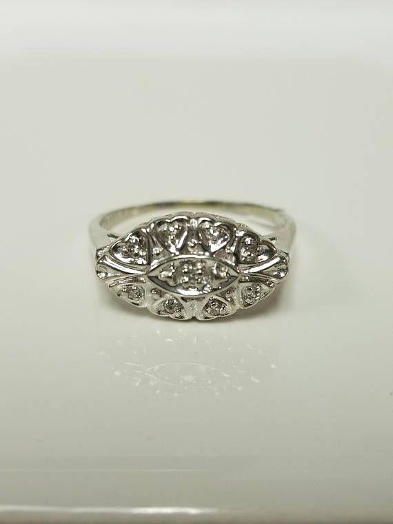 Ring Size 7 5 Estate 10k White Gold 10ct Diamond Ring Antique Antique Diamond Rings Antique Style Rings White Gold