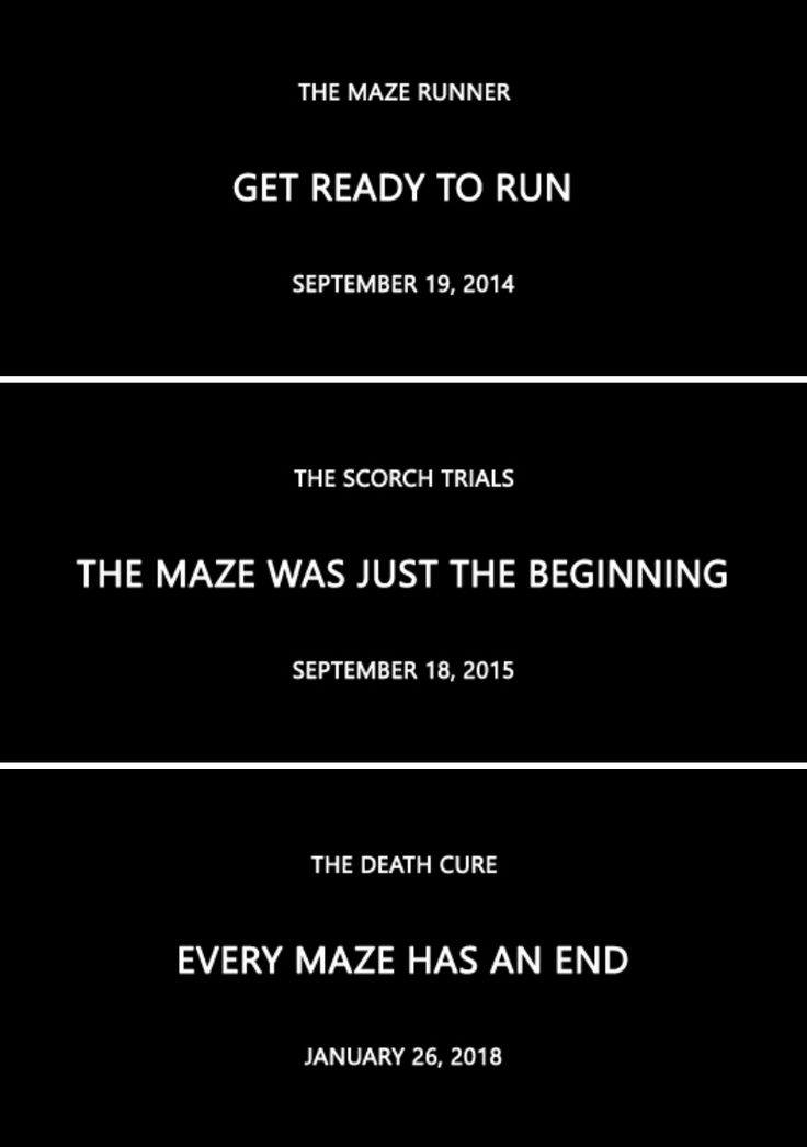 Maze Runner movies and taglines