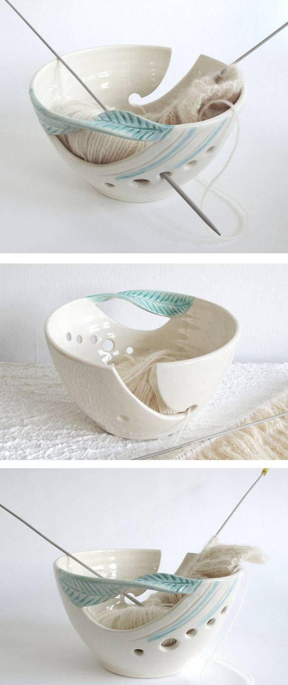 I seem to be obsessed with yarn bowls lately! This is a made to order ceramic bowl. I love the graceful design and the holes for knitting needles. A pretty place to stash unfinished projects. Other colors and sizes available on Etsy. affiliate link