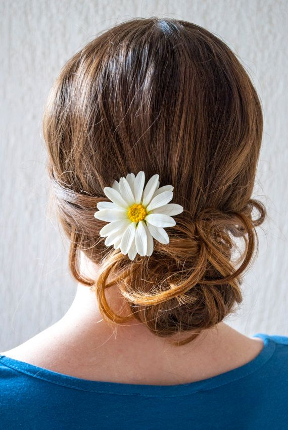 SALE  10% Daisy hair pin White Camomile Polymer by WowBloomRoom