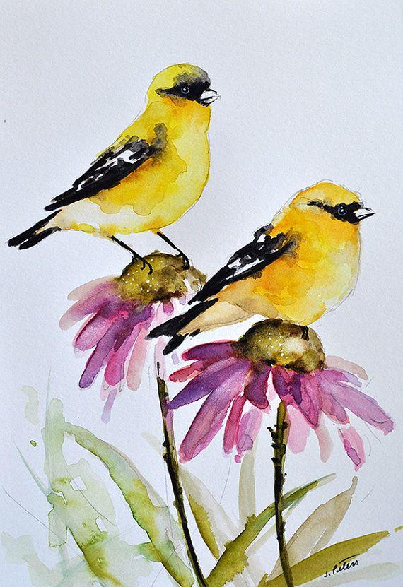 ORIGINAL pintura acuarela aves jilgueros en por ArtCornerShop