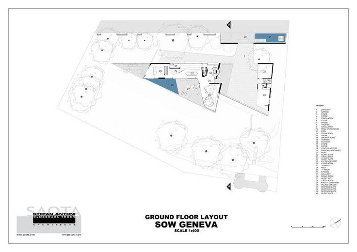 plan de masse - villa afro-européenne par Saota - Genève, Suisse