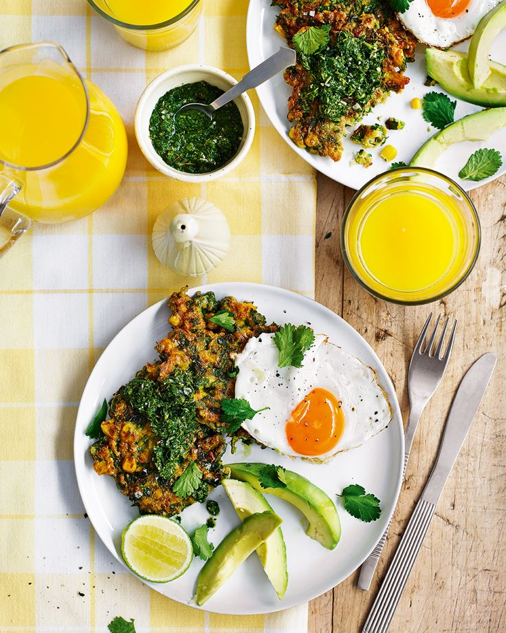 Chetna Makan adds cumin and chilli to her sweetcorn fritters making them crunchy, spicy and incredibly moreish. Top them with a fried egg and mint chutney and you've got yourself a vegetarian brunch recipe fit for any occasion.