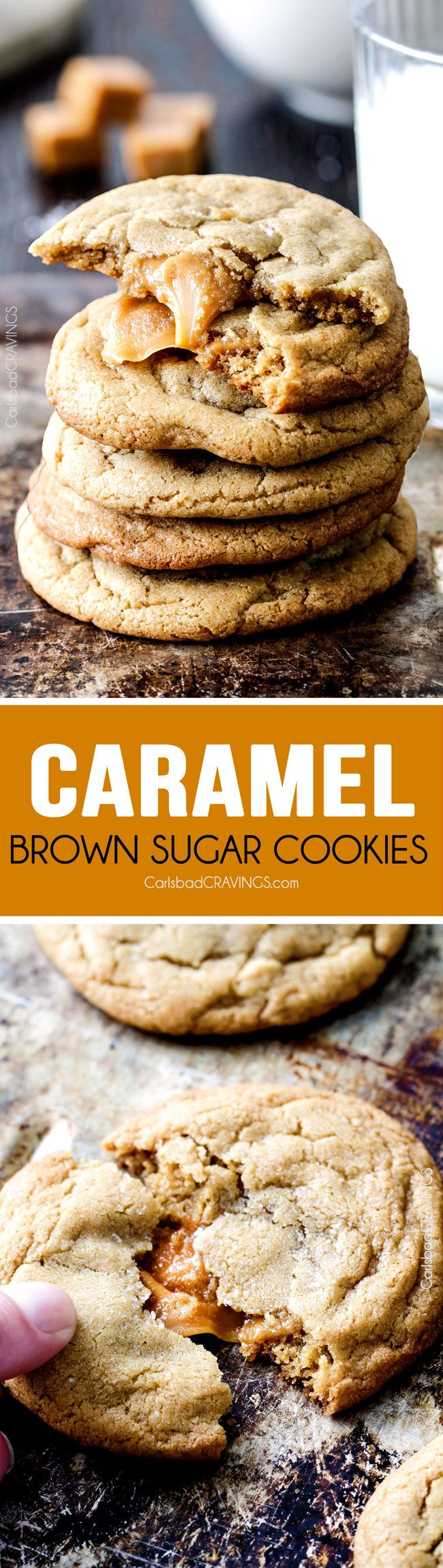 Caramel Stuffed Brown Sugar Cookies - Incredibly soft and chewy and infused with brown butter! Best cookies EVER! and no chill time!