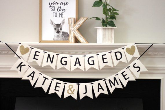 Engaged Banner Bunting Garland Wedding Bridal Engagement Party Hanging Decor UK