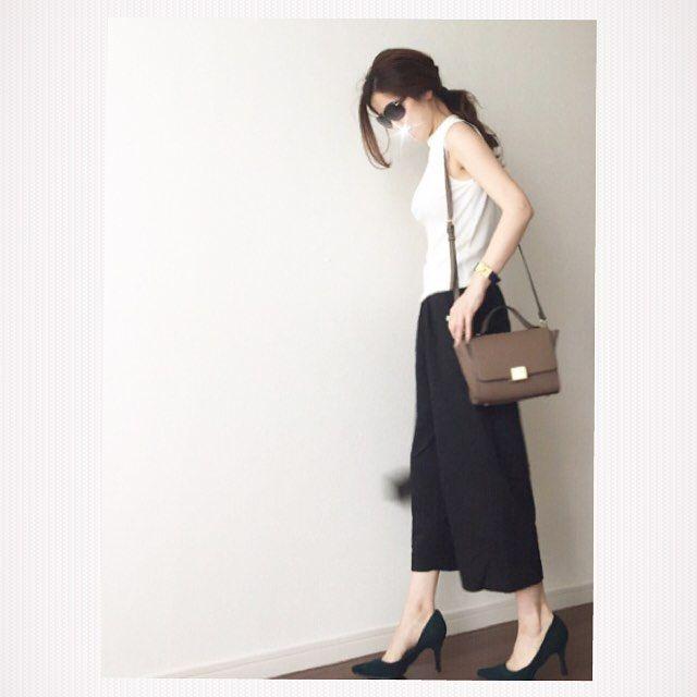 * 秋色バッグ購入 着々と秋支度✨ * トップス#GU#GUMANIA ガウチョ#ポンパドール 靴 #アミアミ #ダークグリーン バッグ#Nナチュラルビューティーベーシック