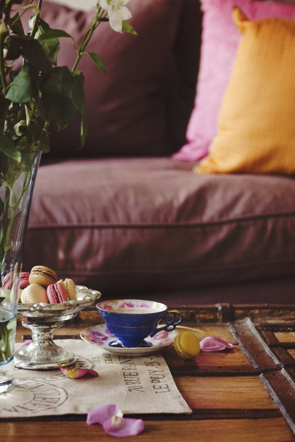 """shanonquinnphotography.com """"Repose"""" interior. Tea and macarons, lounge, living room, styling,"""