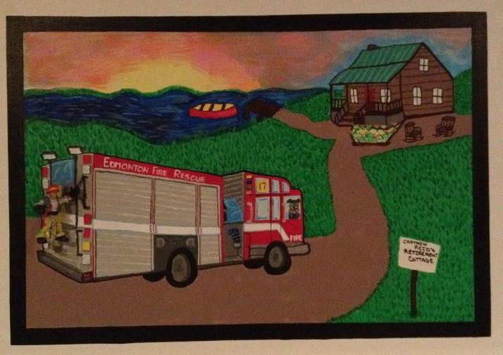 This canvas was created for a retiring fire chief, thanks for looking!  Check out my facebook page at Caught Your Eye Murals