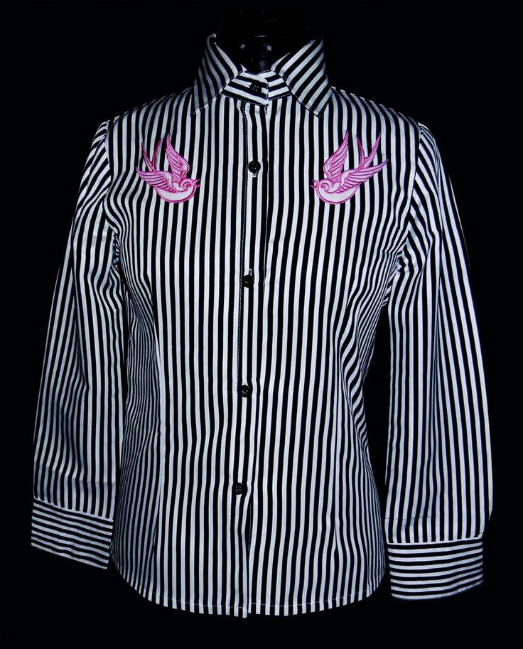 Pink Swallow Striped Rockabilly Shirt Size S/M by FoxliciousDesign on Etsy