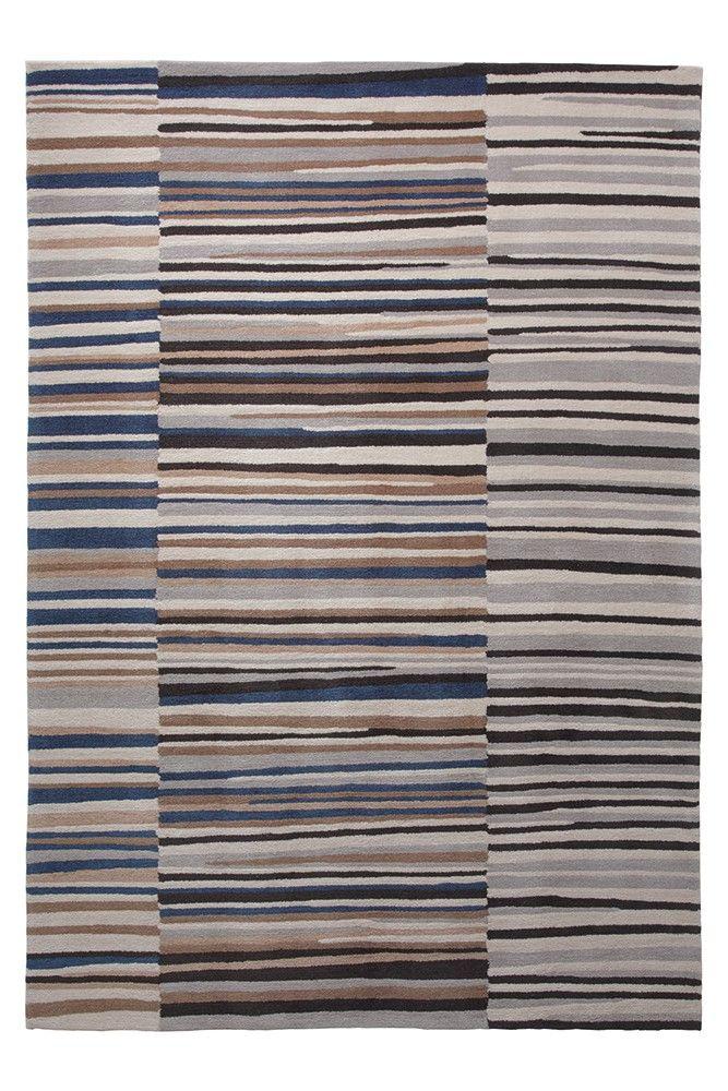 Blattschuss von Design-Teppich Seashore ESP-3802-02 in Grau/ Beige.