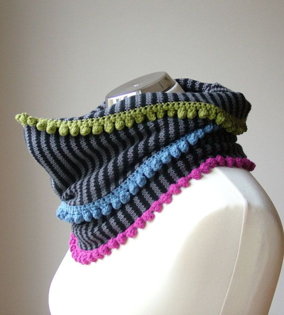 Soft cotton knit cowl scarf in black and grey with colorful, crochet details by rukkola on Etsy. #blackandgrey #cottonknitscarf