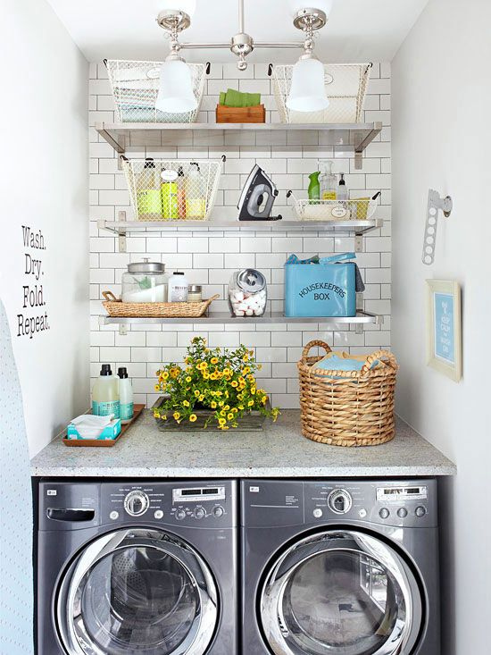 Even your laundry room can be stylish, thanks to spiffy shelves and a fresh, flowery countertop. Wire and wicker bins organize cleaning supplies, while motivational wall art makes laundry just a little less tedious.