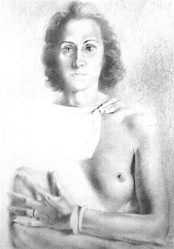 1941 Portrait of Gala Style: Realism, Surrealism Genre: nude painting (nu) Technique: pencil Material: paper