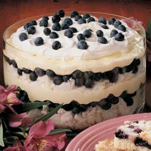 Blueberry Delight -- cream cheese, sugar, condensed milk, vanilla pudding, whipped topping, angel food cake, and blueberries. This would be great during blueberry season!