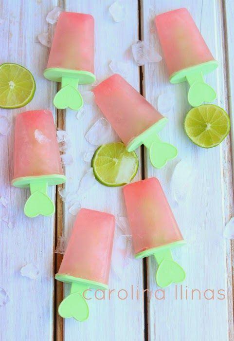 Paletas de limonada rosada -Pink lemonade popsicles