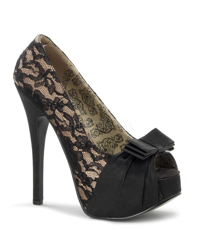 """Bordello Teeze-28 peep toe pump with a gathered satin sash and bow detail at toe. Comes with a 1 3/4"""" platform with a 5 3/4"""" heel."""