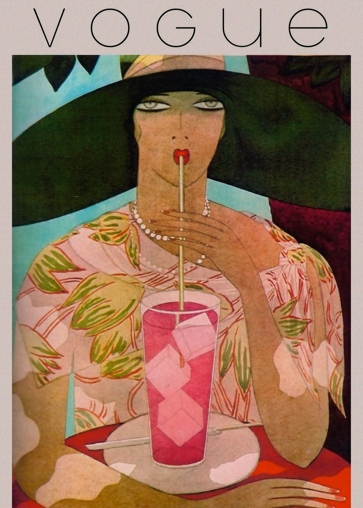 Art Decó Vogue cover ~ Lady sipping lemonade.