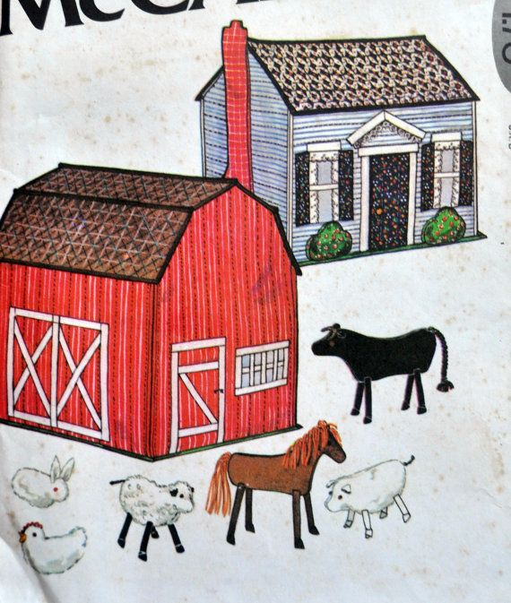 Here is a really WONDERFUL pattern that is sure to spark the imagination of any lucky kid!  You can make a soft sculpture farm house and barn... and the barn is full of animals! What a wonderful gift idea.  Great for quiet play, car trips, grandmas house, vacation, etc. You can take it with you!  Heres all the animals that are inside the big red barn:  - Cow - Horse - Sheep - Pig - Bunny Rabbit - Chicken / Hen  So cute! You can keep the animals inside the barn.. maybe use the house to store…