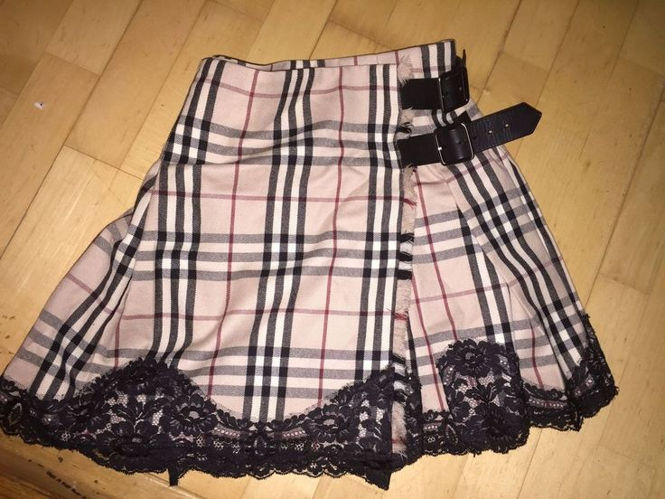 burberry london NEW wool Nova check plaid tartan fringe Lace trim skirt $695 2  #burberrylondon #kiltleatherbeltedskirt
