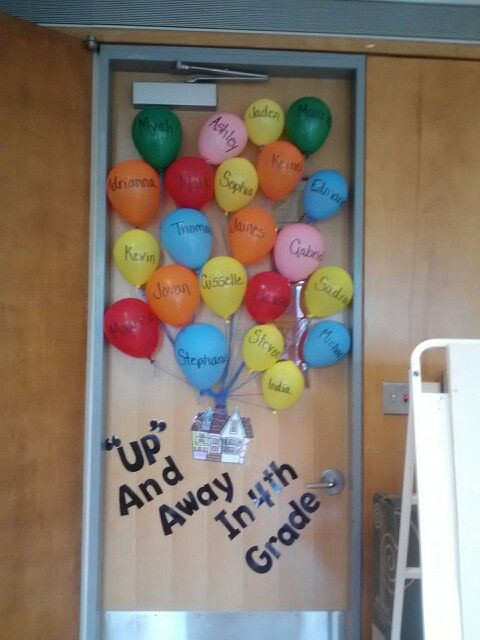 Up themed welcome back to school bulletin board.  Have students decorate and color their own balloon on the first day while everyone is getting settled for the first time.  Then create the bulletin board with them.  It will keep little hands busy while you take stock of your class for the first time.