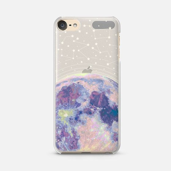 Blue moon and stars constellations / galaxy pattern clear background case - Wallet Case