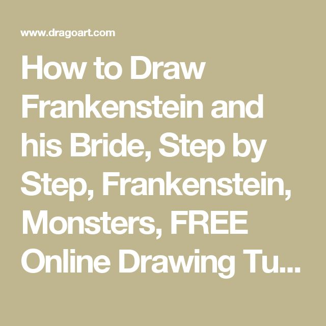 How to Draw Frankenstein and his Bride, Step by Step, Frankenstein, Monsters, FREE Online Drawing Tutorial, Added by Dawn, October 27, 2014, 8:24:14 am
