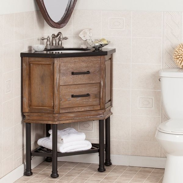 add a rustically inviting element to your bathroom with this corner vanity console industrial gunmetal