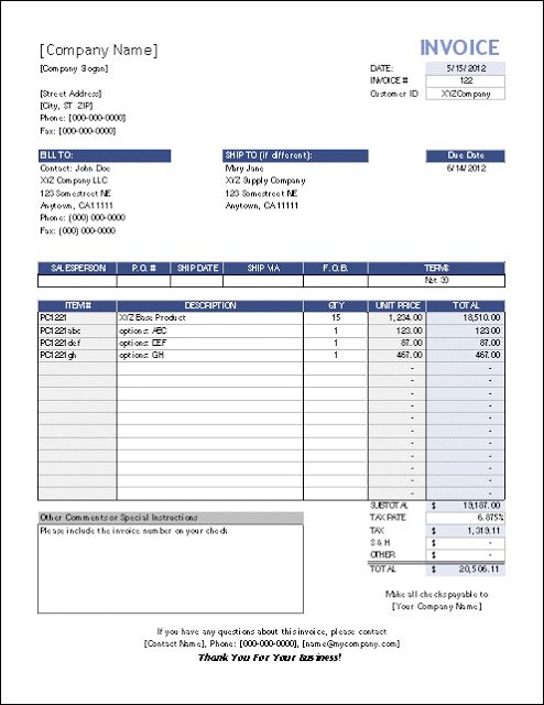Simple Store Sales Tracking Invoice Template Excel