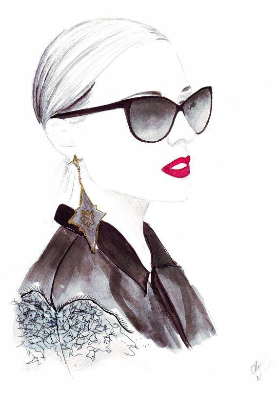 Aquarell Abbildung mit dem Titel In Dior von FallintoLondon auf Etsy